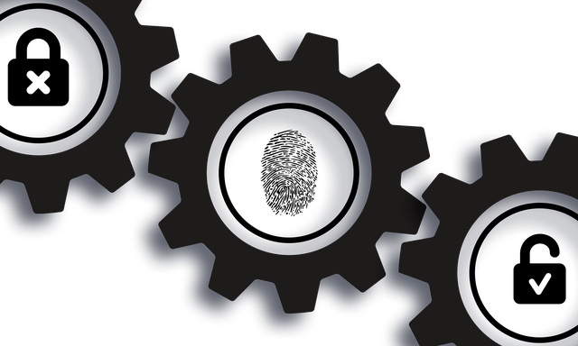 three gears with a fingerprint in the middle gear