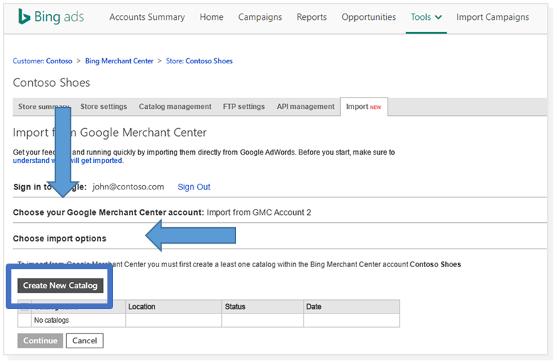 a screenshot of Bing Merchant Center feed