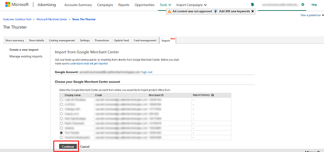 a screenshot of importing a Google Merchant Center feed