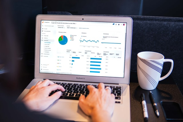 a marketer looking at business analytics