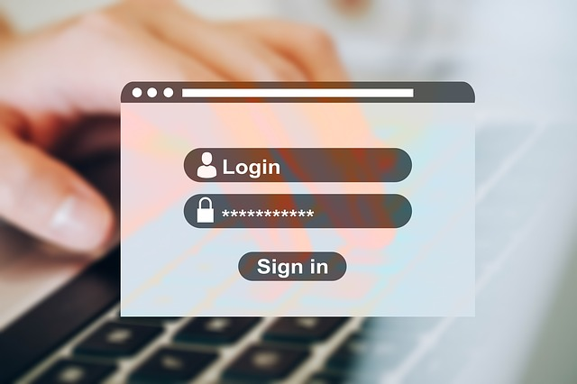 a login screen with a hidden password overlaid on top of a hand typing